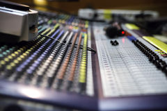 View on sound mixer with regulation buttons Stock Image