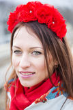 Zoomed woman with head decoration from flowers Royalty Free Stock Photos