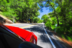 Zooming along a country road. Photograph of a red sports car flying down a back country road with trees and road blurred Royalty Free Stock Photography