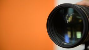 Zooming camera lens stock video footage
