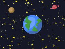 Zooming cartoon space galaxy with stars and planet animation royalty free illustration