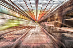 Zooming conveyor. 3 separate images of a conveyor whilst zooming in and out. combined as a high dynamic range image Royalty Free Stock Image