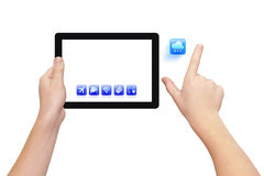 Zooming icon. Two hands holding tablet PC, right hand zooming cloud icon, isolated on white, clipping path Stock Photos