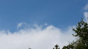 Zooming moving clouds and blue sky. Beautiful blue sky and white clouds moving with sunlight. Zoom shot stock footage