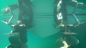 Zooming Out View of Twins Engines of Speed Boat from Stern of Hull