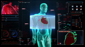 Zooming rotating body and scanning heart. Human cardiovascular system, Blue X-ray light. on digital display user interface panel.