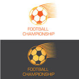 Zooming soccer ball logo for championship Royalty Free Stock Image