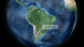 Zooming through space to a country on the globe in South America animation - Argentina - Image Courtesy of NASA