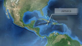 Zooming through space to a location in Central America animation - Jamaica - Image Courtesy of NASA. Mar 22 2018 stock illustration
