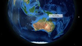 Zooming through space to a location in Globe animation - Coral Sea near Australia - Image Courtesy of NASA. Mar 27 2018 royalty free illustration
