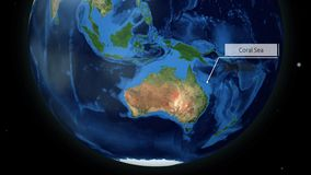Zooming through space to a location in Globe animation - Coral Sea near Australia - Image Courtesy of NASA. Mar 27 2018 vector illustration