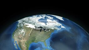 Zooming through space to a location in North America animation - United States of America - Image Courtesy of NASA. 