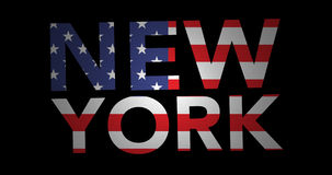 Zooming text New York with flag. Zooming in on text New York colored by American flag. Text rotates at the end and is zoomed in until complete flag is shown stock video