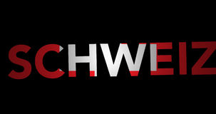 Zooming text Schweiz with flag stock footage