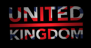 Zooming text United Kingdom with flag stock footage