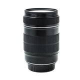 Zoomobjektiv mit Filter auf Weiß Stockfotografie