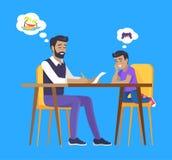 Zoon en Vader Dreaming en de Begroting van de Planningsfamilie vector illustratie