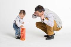 Zoon en zijn geliefde vader Royalty-vrije Stock Foto's