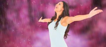 Złożony wizerunek beztroska brunetka z rękami out Zdjęcie Royalty Free