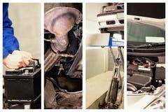 Złożony wizerunek zmienia samochodową baterię mechanik Obrazy Royalty Free