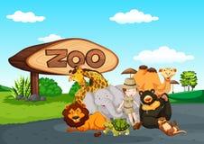 Zooplats med många vilda djur Fotografering för Bildbyråer