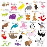 Zootieralphabet Netter Karikaturzeichensatz Weißer Hintergrund Babykinderbildung Schmetterling, Delphin, Flamingo, Jaguar, Lizenzfreie Stockfotos