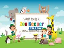 Zoowärter für Tageskinder- und -tierkarikaturrahmenillustration Stockfotos