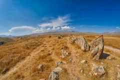 Zorats Karer Carahunge - προϊστορική πέτρινη περιοχή πυραμίδων στο AR Στοκ Εικόνες