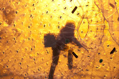 Zorbing. Close up of a zorbing ball Royalty Free Stock Images