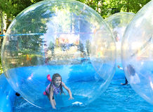 Zorbing in park Royalty Free Stock Images