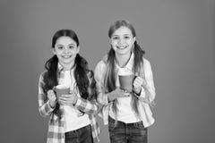 Zorg jonge geitjesdrank ervoor genoeg water De meisjesjonge geitjes houden koppen oranje achtergrond De zusters houden mokken Het royalty-vrije stock foto's