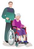 Zorg van invalids oudere personen Stock Foto