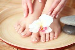 Zorg voor mooie vrouwenbenen met bloem Mooie vrouwenbenen Stock Foto's