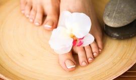 Zorg voor mooie vrouwenbenen met bloem Stock Afbeelding