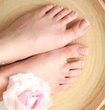 Zorg voor mooie vrouwenbenen met bloem Stock Fotografie