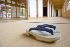 Zori. Traditional Japanese footwear worn with kimono in tatami (rush mat) room Royalty Free Stock Images