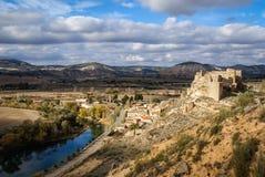 Zorita slott, Castilla la Mancha, Spanien Arkivbilder