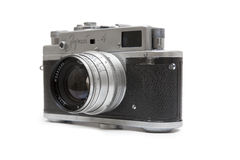 Zorki 4 camera. View at Zorki 4 camera isolated on white. This  35 mm rangefinder camera was possibly the most popular of all Zorki cameras made in Krasnogorsk Stock Images