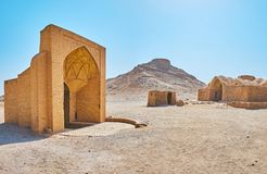 The ancient landmarks of Yazd, Iran. The Zoroastrian burial site, named Dakhma of Towers of Silence is the nice example of ancient architecture, here locate royalty free stock image