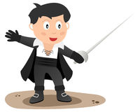 Zorro. Or the nobleman Don Diego de la Vega with a rapier or sword. Eps file available Royalty Free Stock Photography