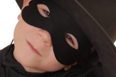 Zorro The Avenger 5. Close up portrait of child as costumed Zorro Stock Photo
