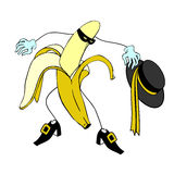 Zorro and Cartoon banana character  Royalty Free Stock Images