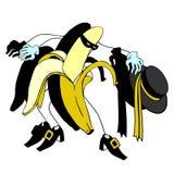 Zorro and Cartoon banana character vector Royalty Free Stock Photography