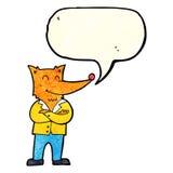 zorro de la historieta en camisa con la burbuja del discurso Fotos de archivo