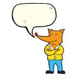 zorro de la historieta en camisa con la burbuja del discurso Fotografía de archivo libre de regalías