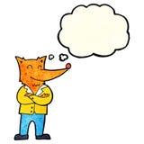 zorro de la historieta en camisa con la burbuja del pensamiento Imagen de archivo