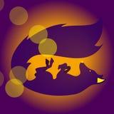 Zorro del vector que juega con la bola ilustración del vector