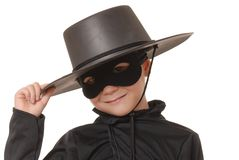 Zorro Of The Old West 19. Young boy dressed in Zorro halloween costume Stock Photo