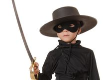 Zorro Of The Old West 3. Young boy dressed in Zorro halloween costume Royalty Free Stock Images