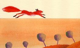 zorro rojo en la carretera nacional ilustración del vector